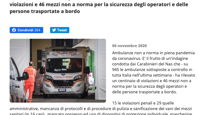 Sanitizzare le ambulanze?